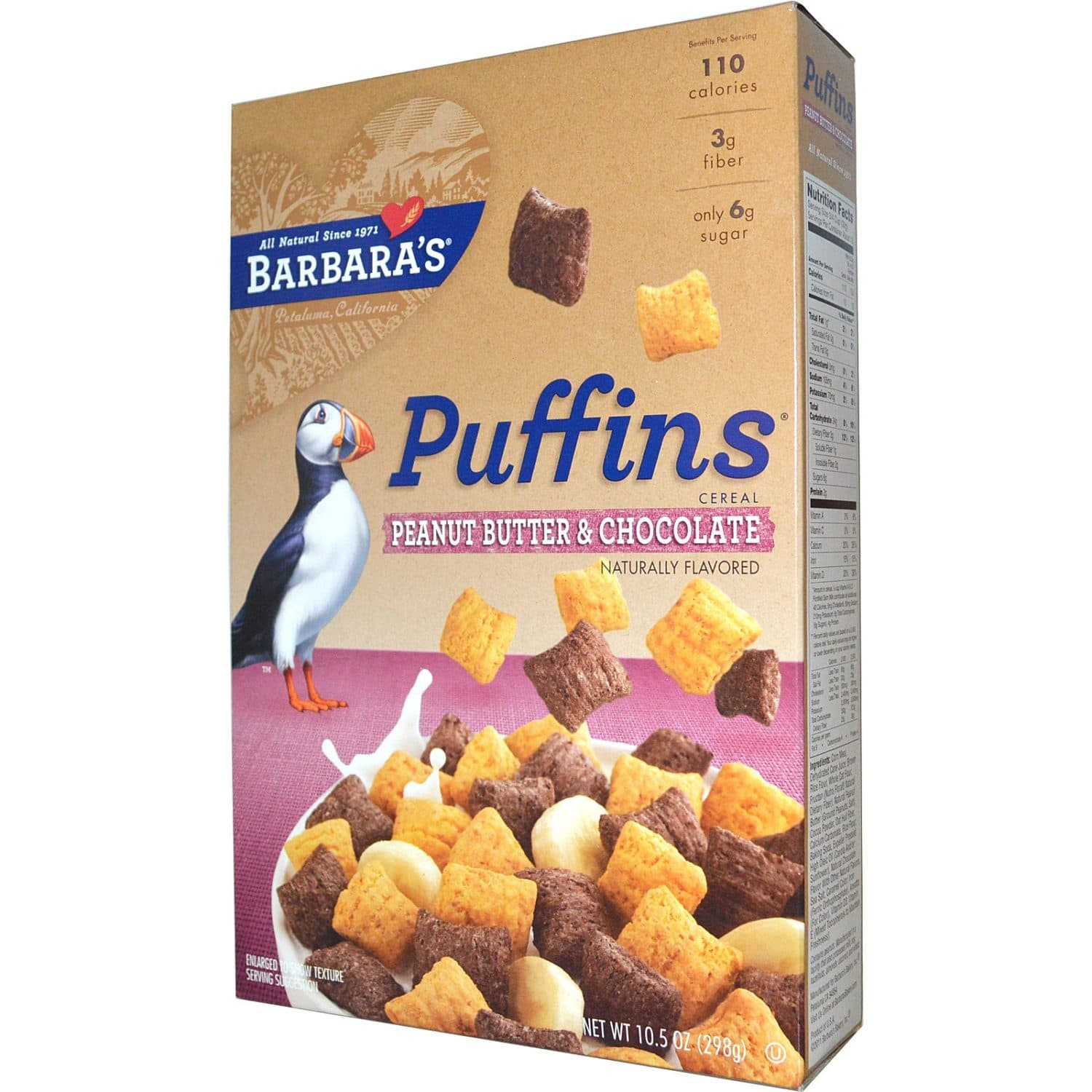 Puffins Peanut Butter And Chocolate Cereal From Barbara's